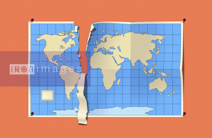 World map tearing separating North America from rest of the world - Harry Haysom
