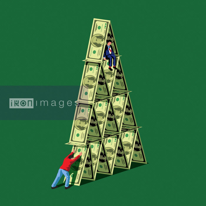 Man pushing over dollar house of cards with man sitting on top - Harry Haysom