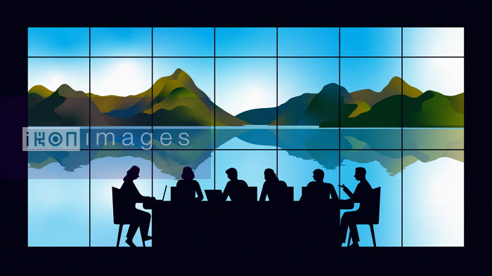 Business meeting silhouetted in front of beautiful landscape through window - Harry Haysom
