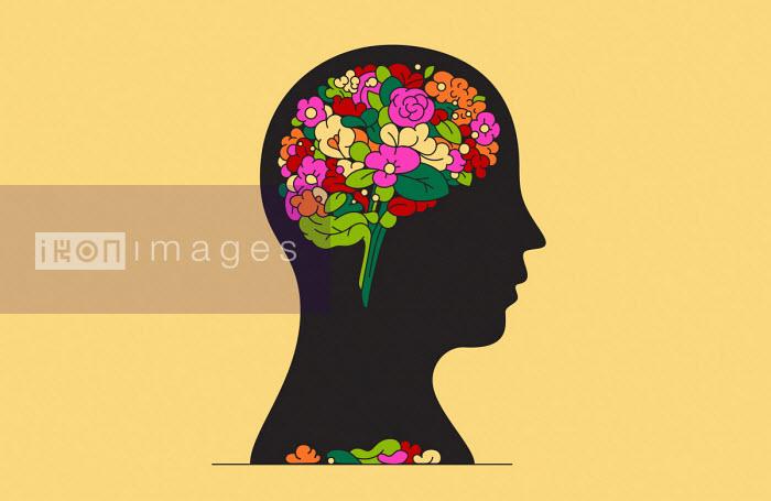 Bunch of flowers inside of man's head - Harry Haysom