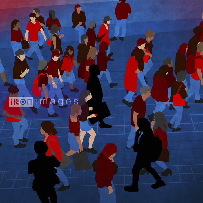 Aerial view secondary school pupils moving around outside school - Rebecca Hendin