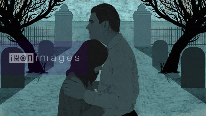 Grieving couple in cemetery - Rebecca Hendin