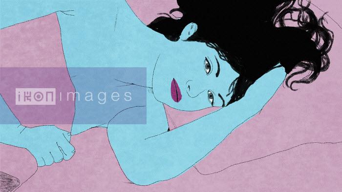 Pensive woman lying awake in bed - Rebecca Hendin