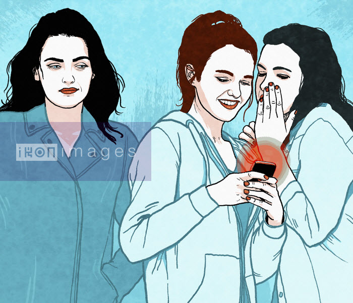 Woman smiling at teenagers giggling over smart phone - Rebecca Hendin