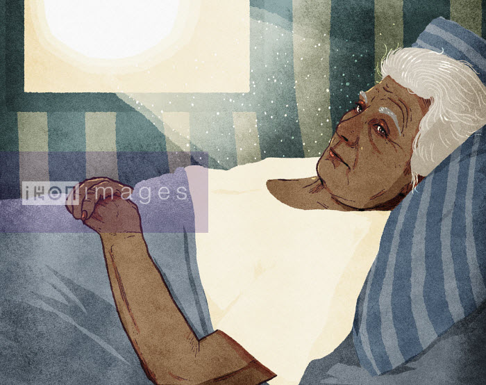Sun shining on elderly woman lying in bed - Rebecca Hendin