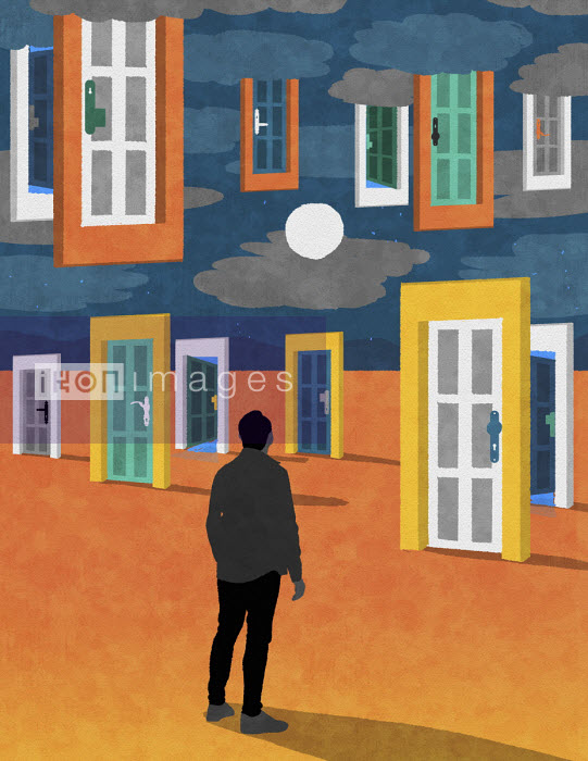 Man with choice of doors in desert and in sky - Rebecca Hendin