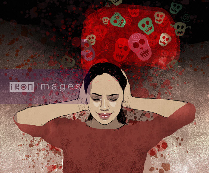 Distressed woman blocking ears to frightening thoughts - Rebecca Hendin