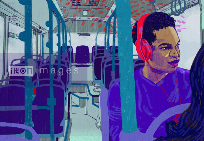 Man on bus listening to headphones - Rebecca Hendin