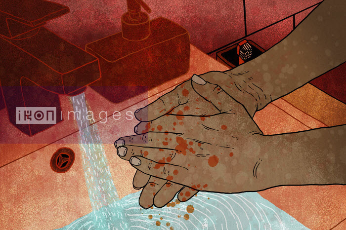 Man washing blood splatters from hands - Rebecca Hendin