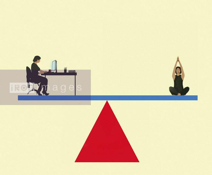 Work life balance with woman on seesaw - Gary Waters