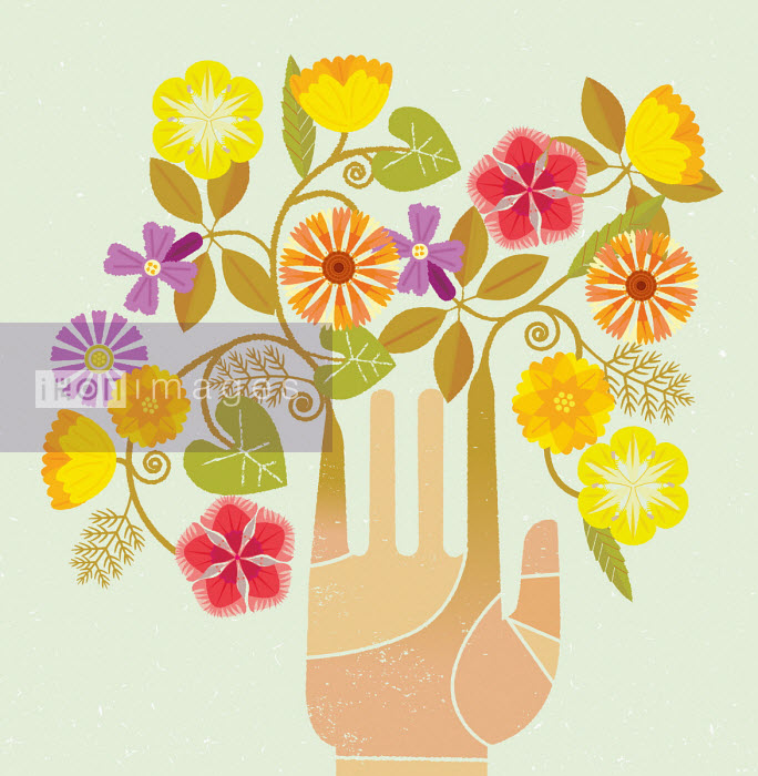 Pretty flowers growing from fingers on hand - Gillian Blease