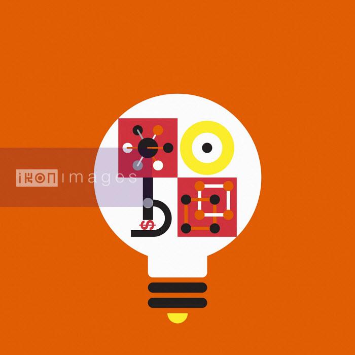 Geometric graphic of business concepts inside light bulb - Grundini