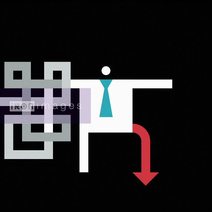 Businessman with arm in maze and leg as downward red arrow - Grundini