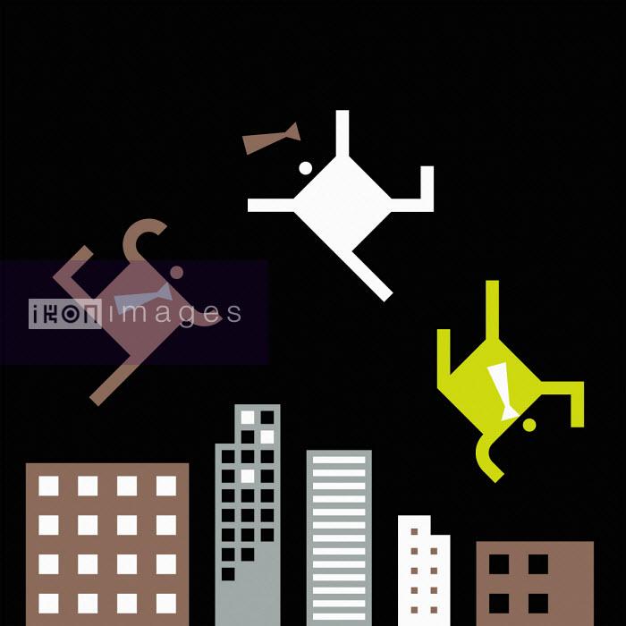 Businessmen falling above city skyscrapers - Grundini