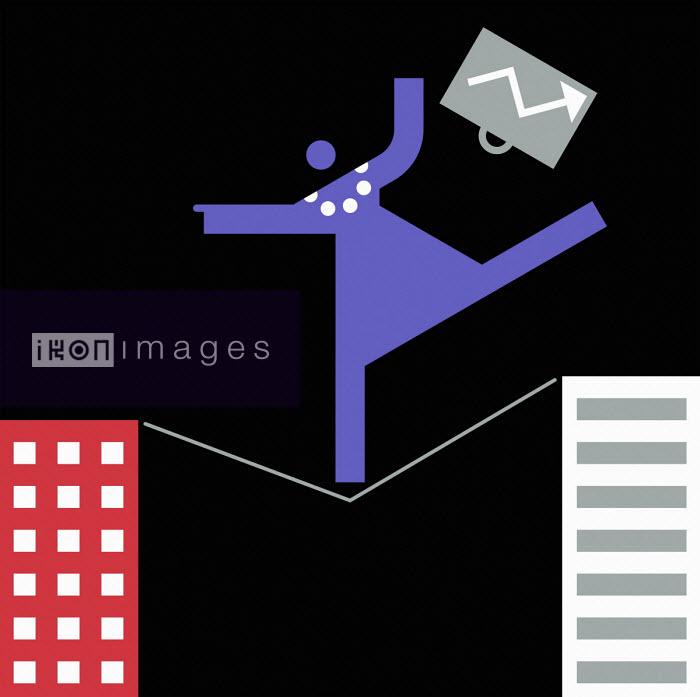 Businesswoman struggling on tightrope between office buildings - Grundini
