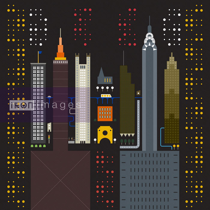 Geometric graphic of New York City buildings - Grundini