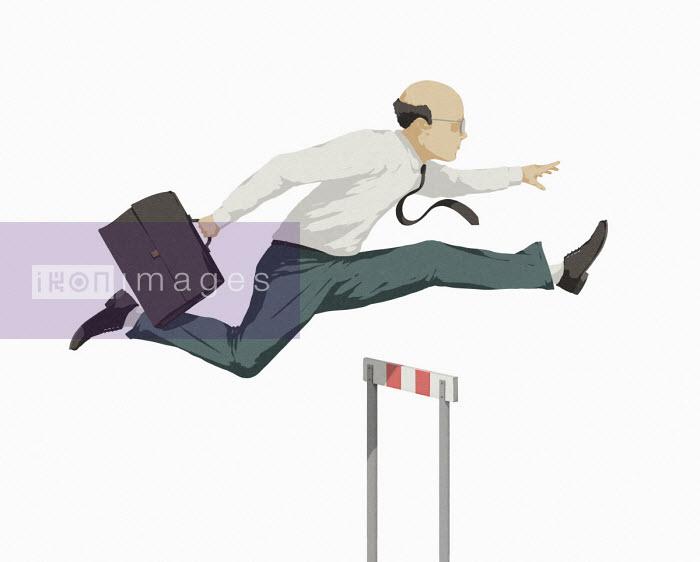 Businessman jumping over hurdle - Hendrik Dahl