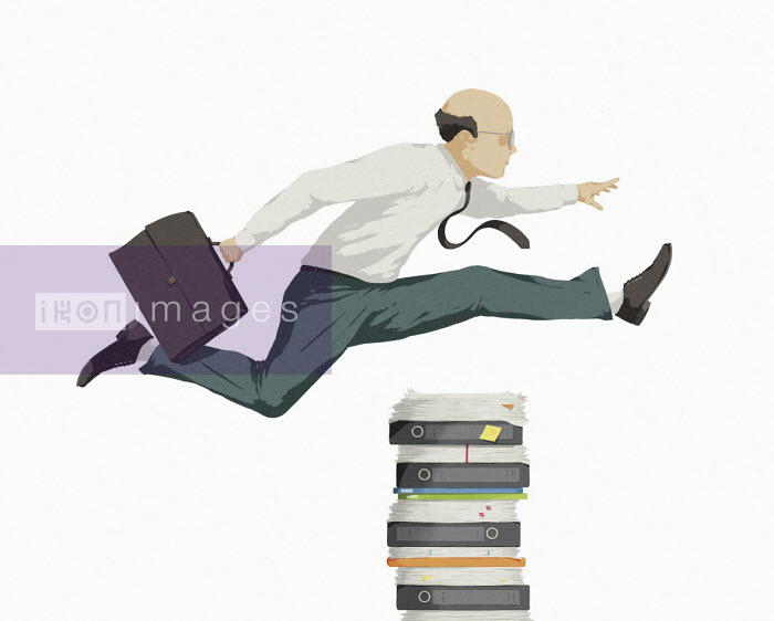 Businessman jumping over pile of paperwork - Hendrik Dahl