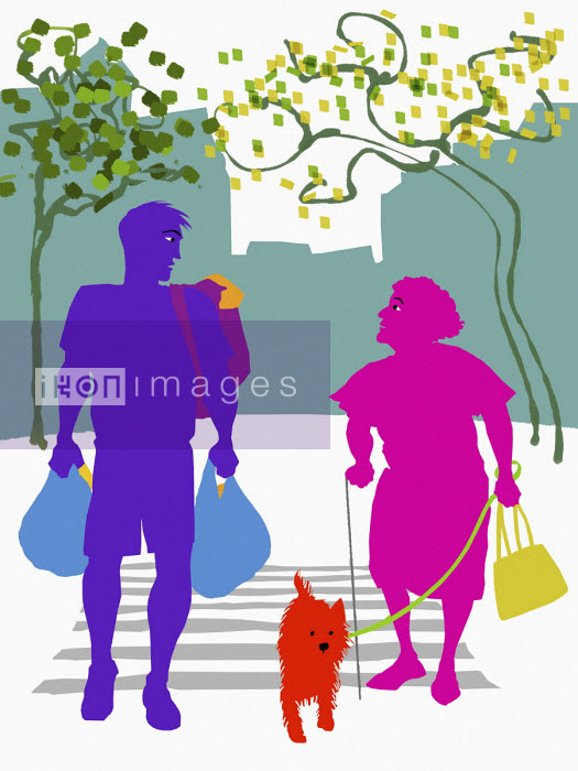 Man carrying shopping across road for elderly woman - Jan Bowman