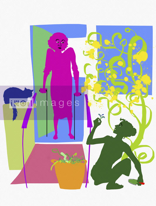 Woman weeding for disabled woman watching from doorway - Jan Bowman