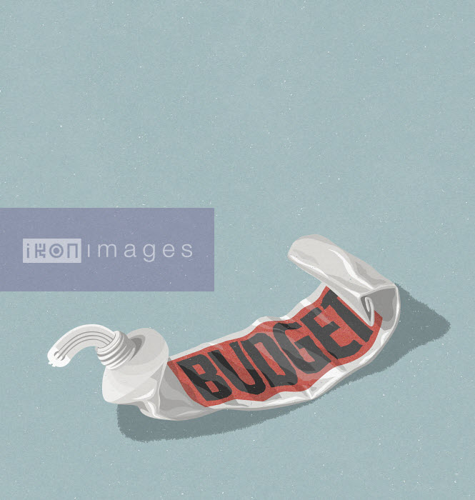 Euro sign being squeezed from empty budget toothpaste tube - John Holcroft