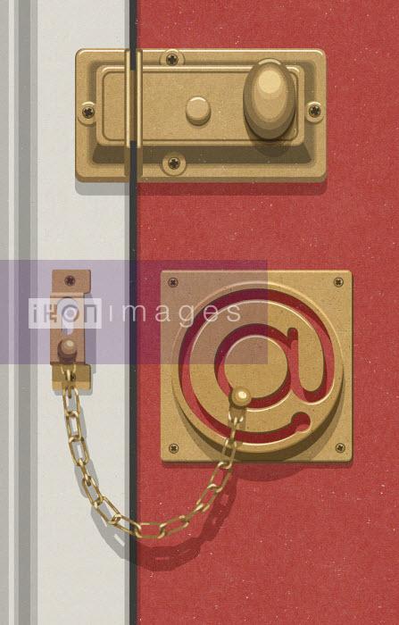 Door security chain in shape of @ symbol - John Holcroft