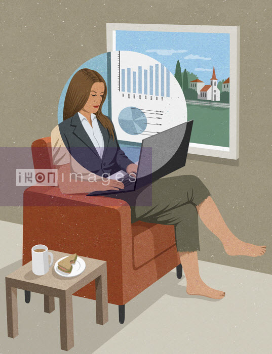 Businesswoman working from home - John Holcroft
