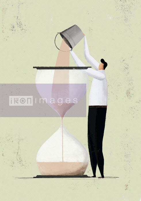 Man pouring more sand into hourglass - Josep Serra