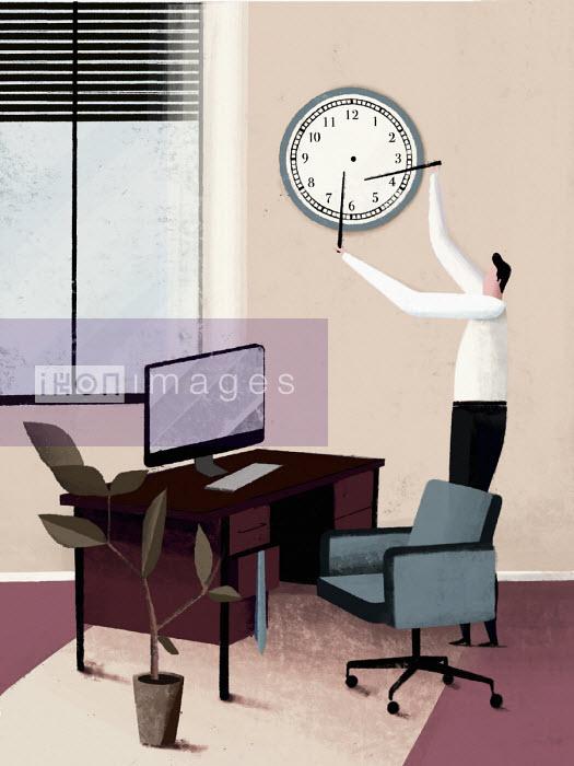 Man removing hands from clock - Josep Serra