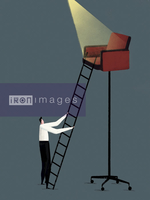 Ambitious businessman with ladder against high office chair - Josep Serra