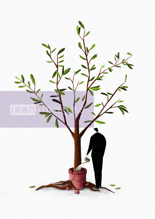 Businessman watering tree with roots breaking pot - Josep Serra