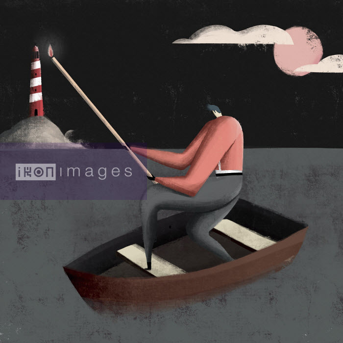 Man in boat lighting lighthouse with very long matchstick - Josep Serra