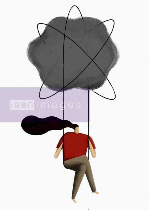 Woman on swing below atom symbol cloud - Josep Serra