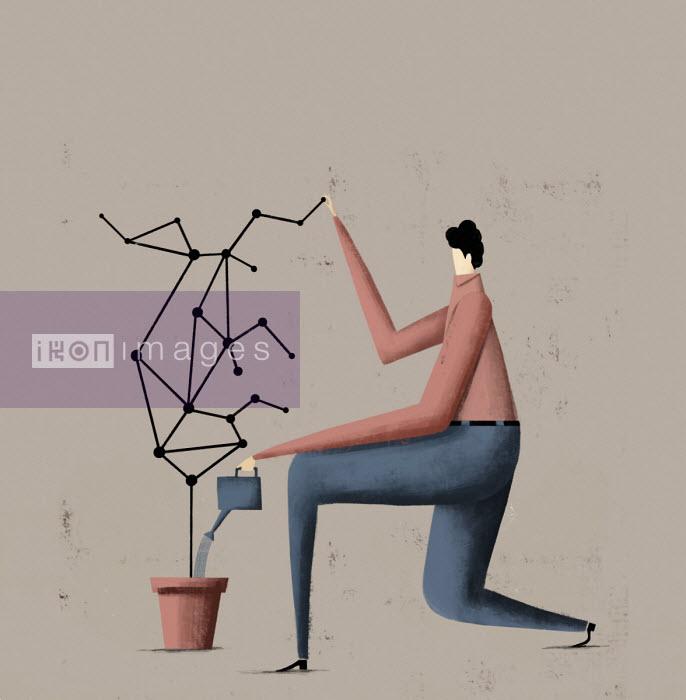 Man watering network growing in pot - Josep Serra