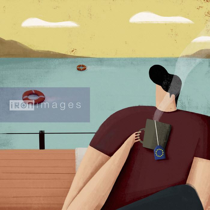 Man drinking European Union tea on boat indifferent to life belts in sea - Josep Serra