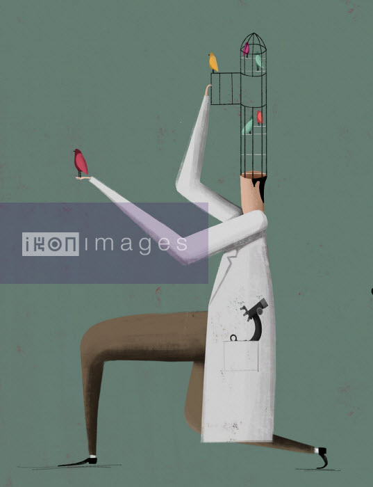 Scientist opening birdcage on top of head - Josep Serra