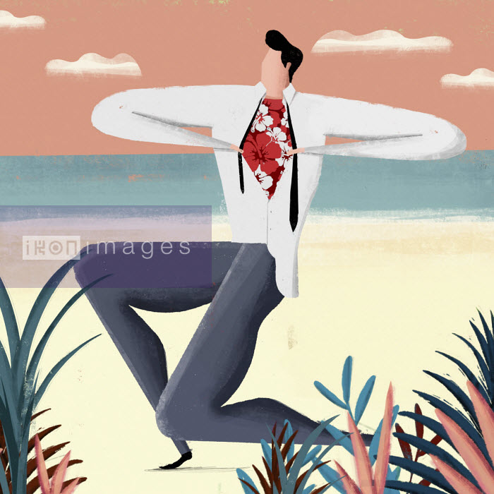Man removing shirt and tie on beach to reveal floral t- shirt - Josep Serra