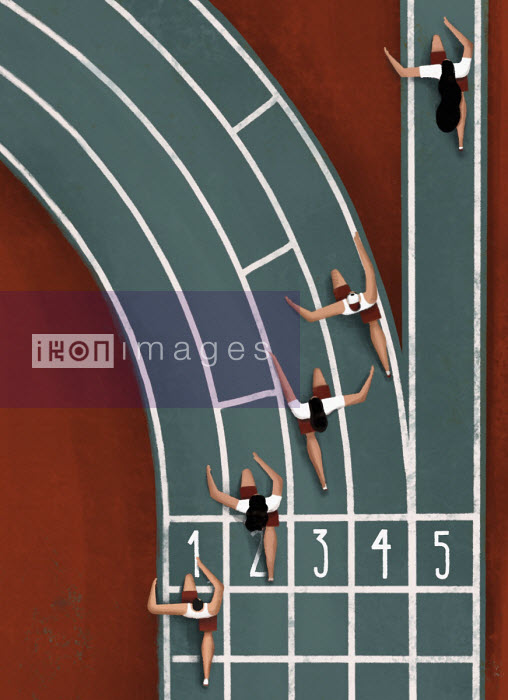 Overhead view of woman running in straight lane on bend in athletics track - Josep Serra