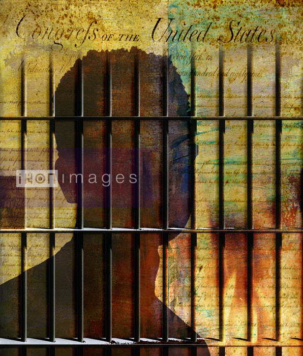 The United States Bill of Rights and a young man behind prison bars - Roy Scott