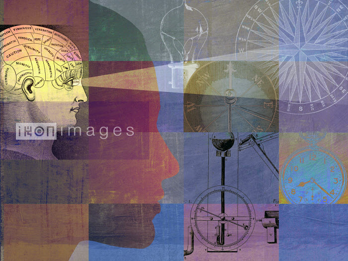 Phrenology head in montage with compasses, light bulb and stopwatch - Roy Scott