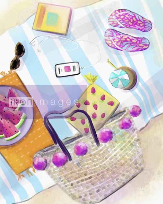 Feminine accessories on beach mat - Stephanie McKay