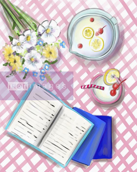 Books, flowers and summer drink on gingham cloth - Stephanie McKay