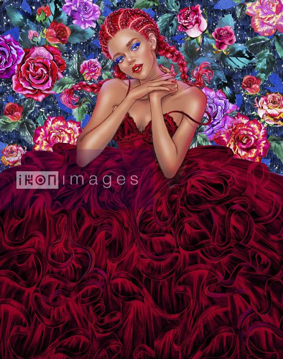 Fashion model posing in frilly ballgown - Sunny Gu