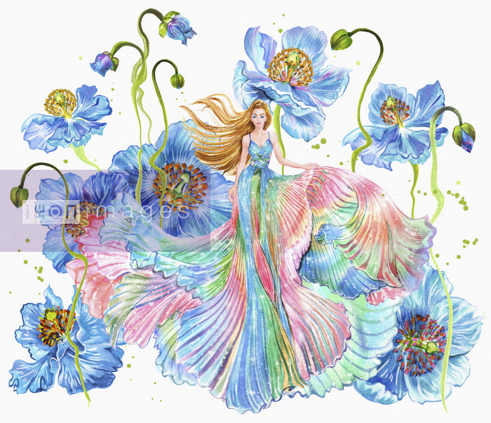 Woman in flowing multicoloured dress among huge flowers - Sunny Gu