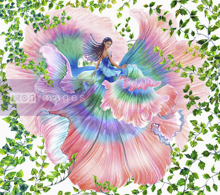Woman in flowing multicoloured dress among ivy leaves - Sunny Gu
