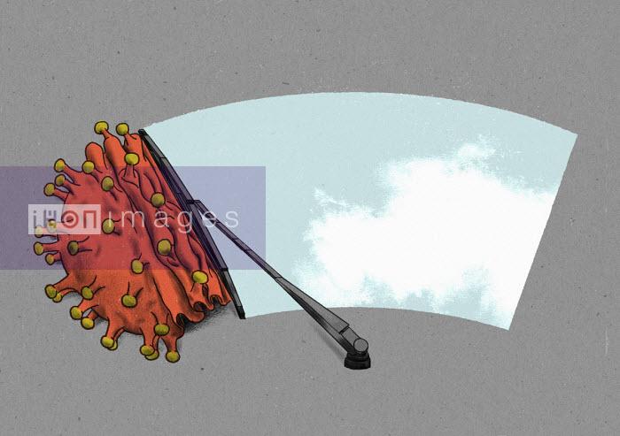 Windscreen wiper removing coronavirus to reveal blue sky - Thomas Kuhlenbeck