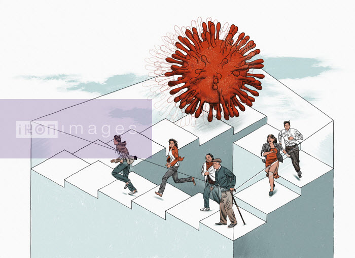 People trying to escape coronavirus on neverending staircase - Thomas Kuhlenbeck