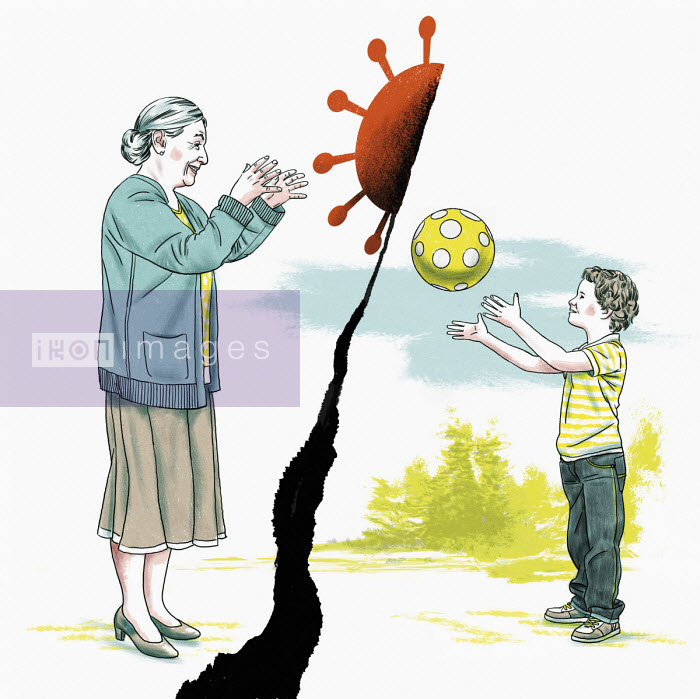 Boy throwing ball and grandmother catching coronavirus - Thomas Kuhlenbeck