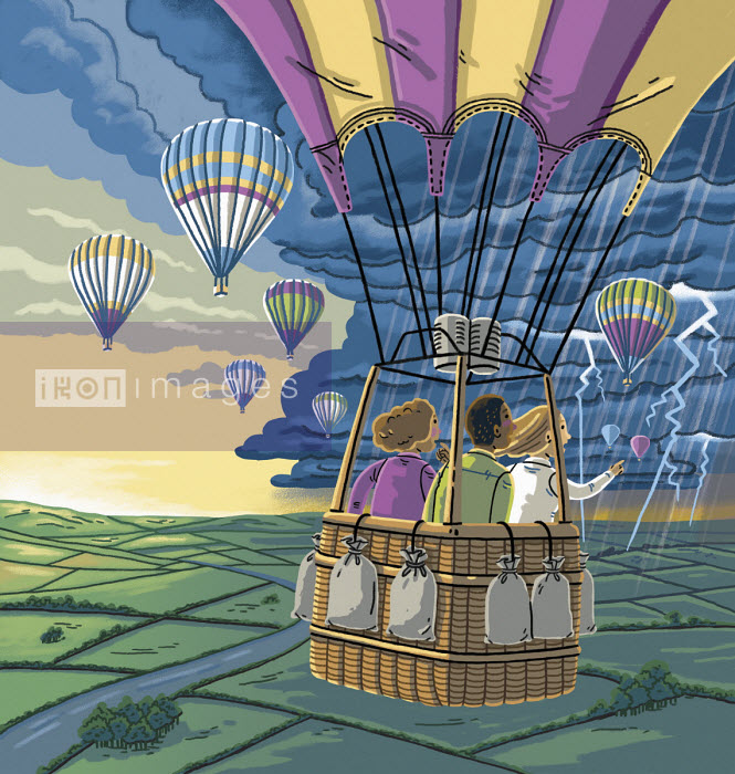 Children in hot air balloon heading for stormy weather - Elly Walton