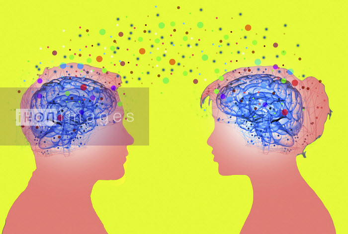 Colourful dots connecting brains of couple - Gary Waters